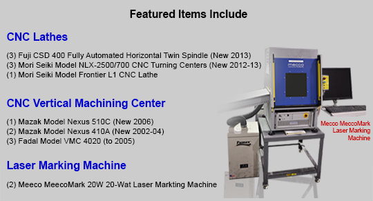 Used CNC Machining Equipment for sale at auction